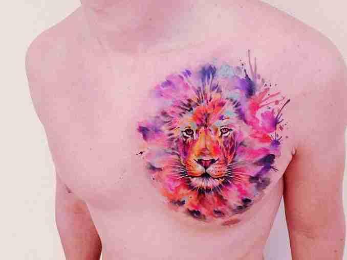 fotos de tatuagens leão - aquarela